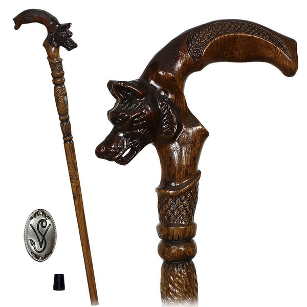 WOLF Dark Wooden Walking Stick Cane Hand Carved - GC-Artis Walking Sticks Canes