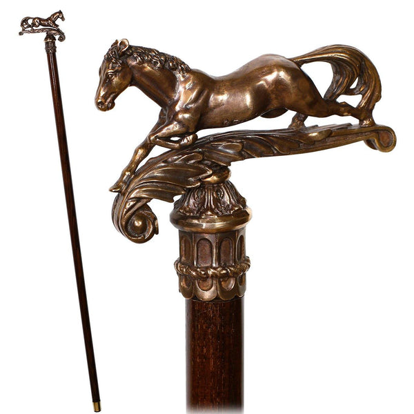 Walking Stick Cane Horse Solid Bronze & wood classic vintage style - GC-Artis Walking Sticks Canes
