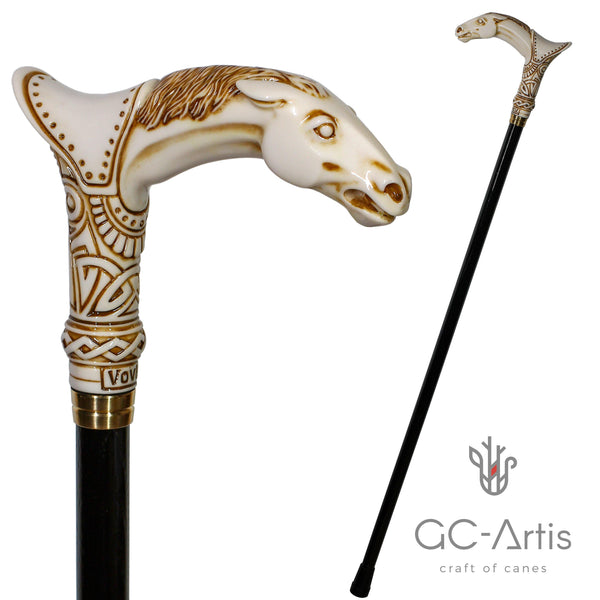 Horse Walking Cane stick Ivory Color - GC-Artis Walking Sticks Canes