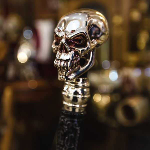 Skull Walking Stick Cane Knob Handle Goth Style Silver Plated - GC-Artis Walking Sticks Canes