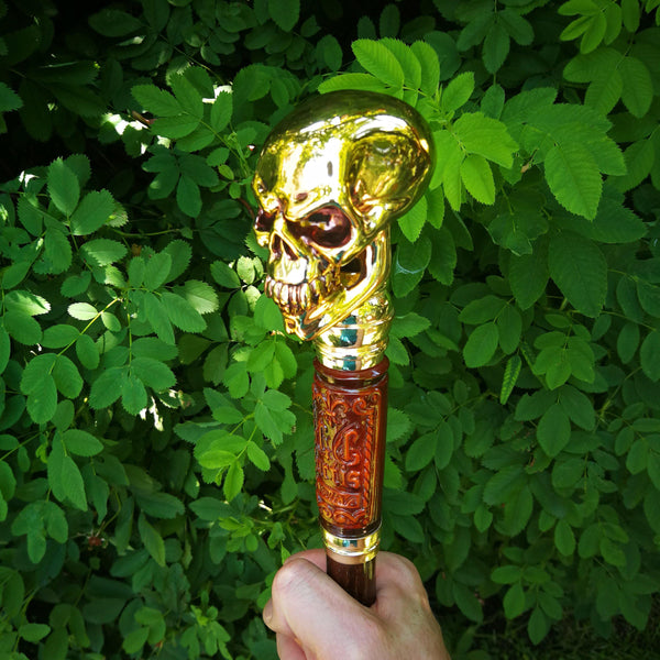 Gold Color Walking Stick Cane with Skull goth Style Knob - GC-Artis Walking Sticks Canes