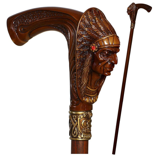 Native American Indian Chief Brown walking cane - GC-Artis Walking Sticks Canes