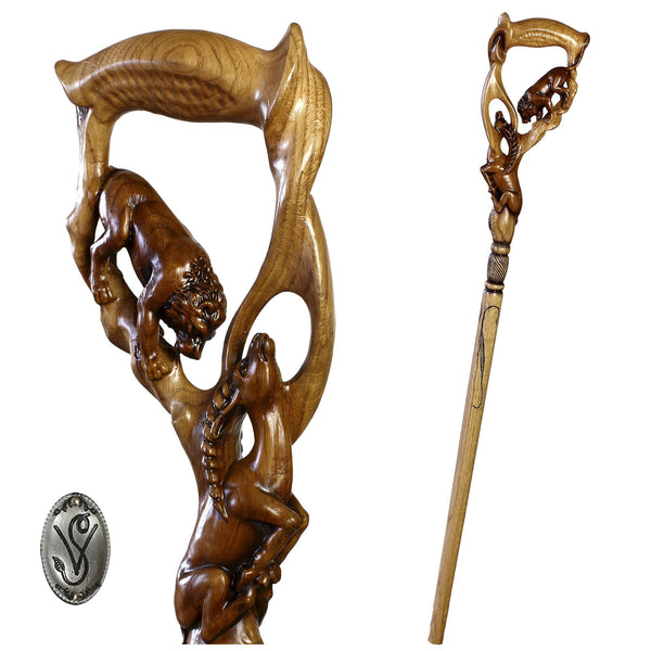LION & IMPALA Light Wooden cane walking stick - GC-Artis Walking Sticks Canes