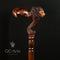Wooden Lion Walking Stick Cane - Palm Grip Ergonomic Handle RH