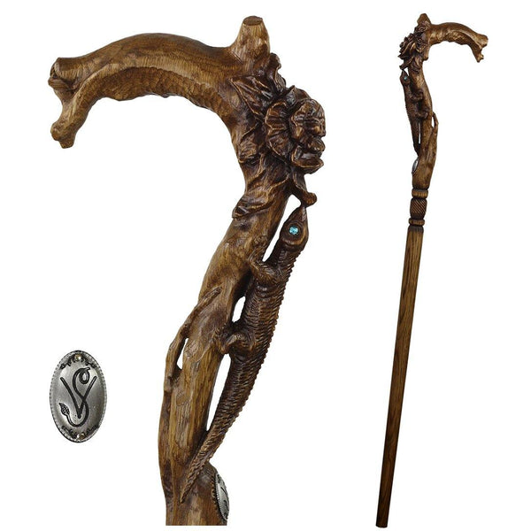 Lizard & Flower Ladies Hand Carved Walking Stick - GC-Artis Walking Sticks Canes