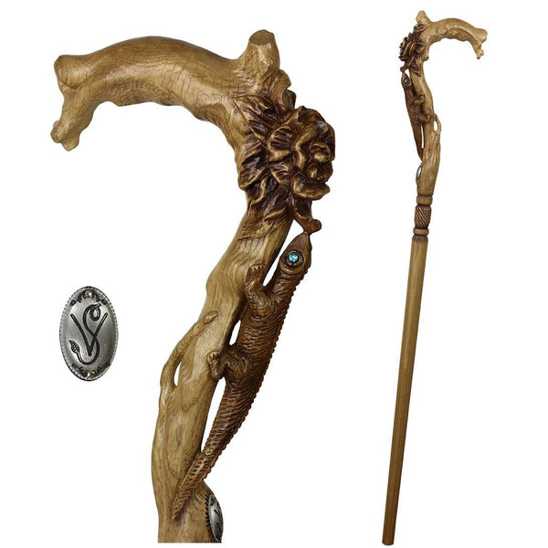 LIZARD & FLOWER Light Wooden Cane Walking Stick Ladies - GC-Artis Walking Sticks Canes