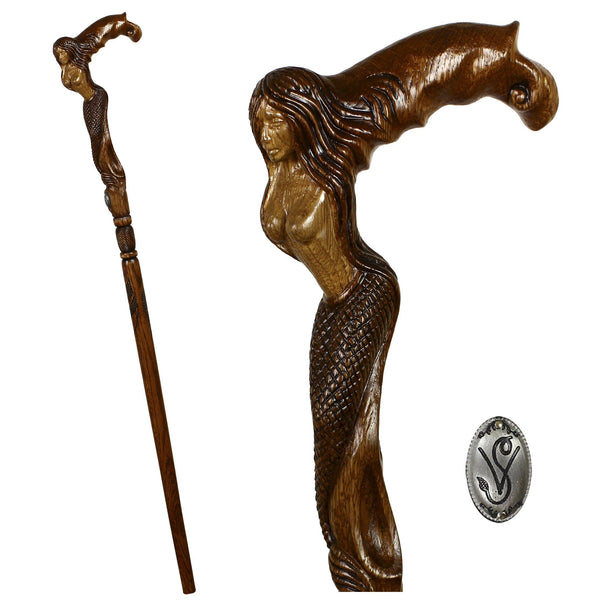 Crying Mermaid Syren Girl Wooden Walking Stick Cane - GC-Artis Walking Sticks Canes