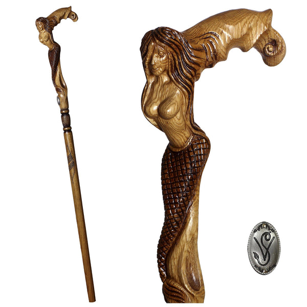 Syren Crying Mermaid Cane Walking stick Fantasy wooden handmade - GC-Artis Walking Sticks Canes