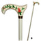 White Hand Painted Wooden Walking Stick Cane Artist fill Flowers - GC-Artis Walking Sticks Canes