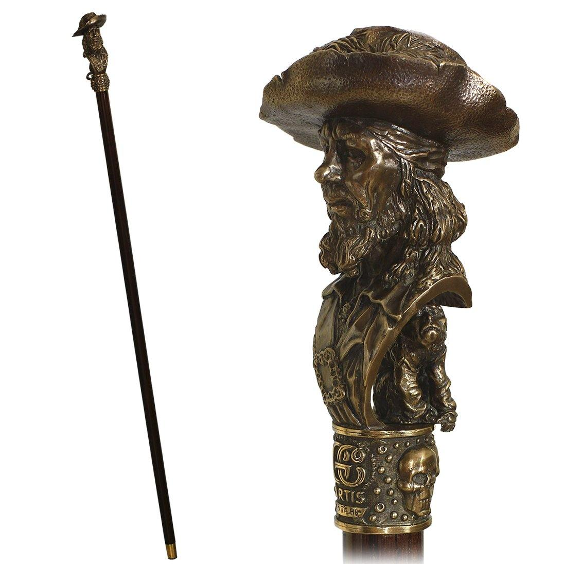 Pirate Captain with Monkey Bronze collectible walking stick - GC-Artis Walking Sticks Canes
