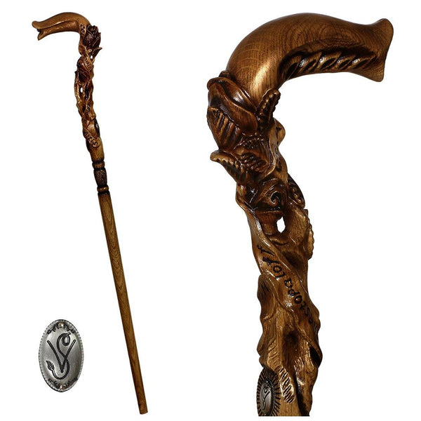 Rose Flower Dark Wooden Cane Walking Stick for women - GC-Artis Walking Sticks Canes