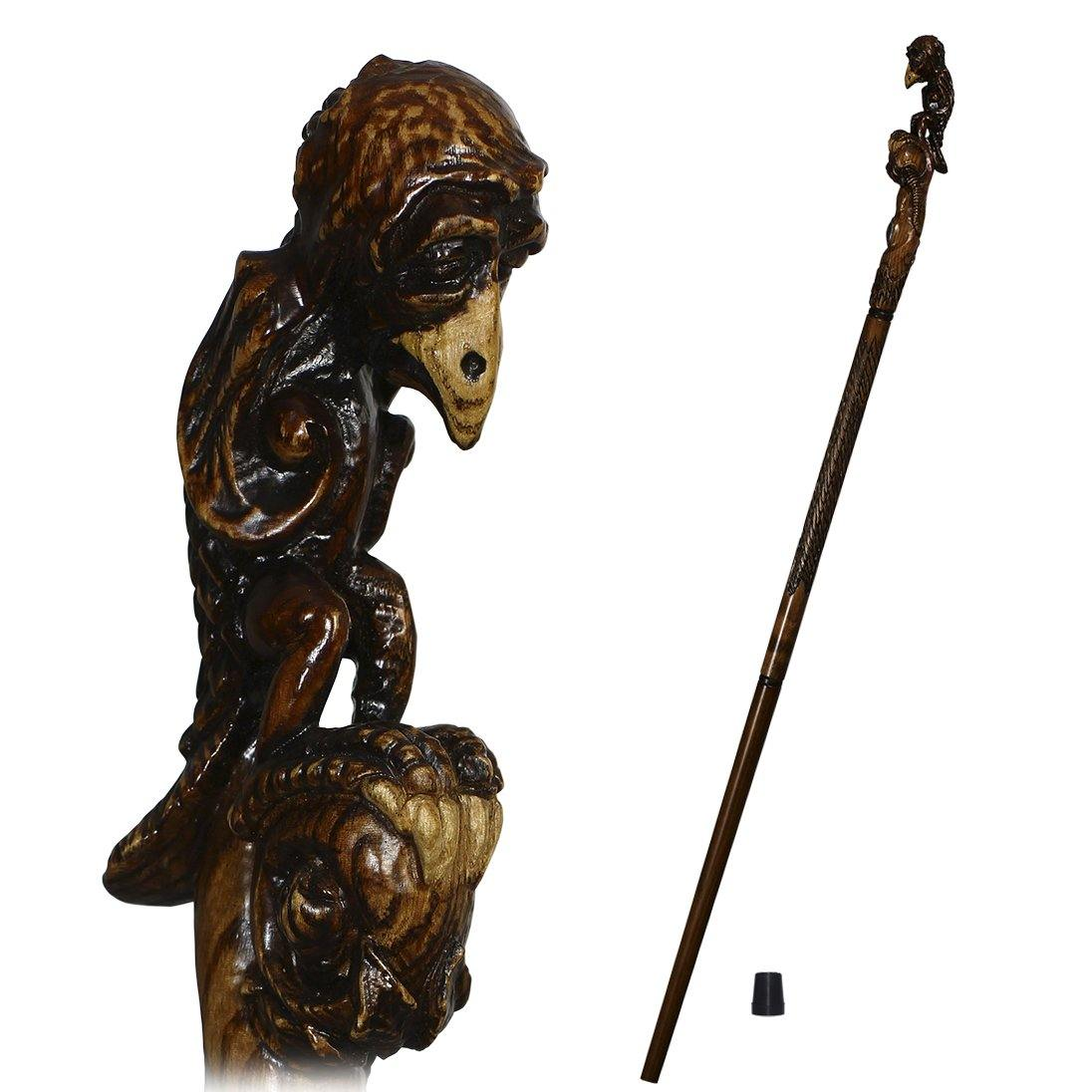 Sad Griffin Totem Extra long wooden walking stick cane Hiking staff