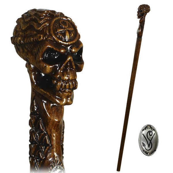 EGYPTIAN SKULL Wooden Walking Stick Cane Ankh Cross - GC-Artis Walking Sticks Canes