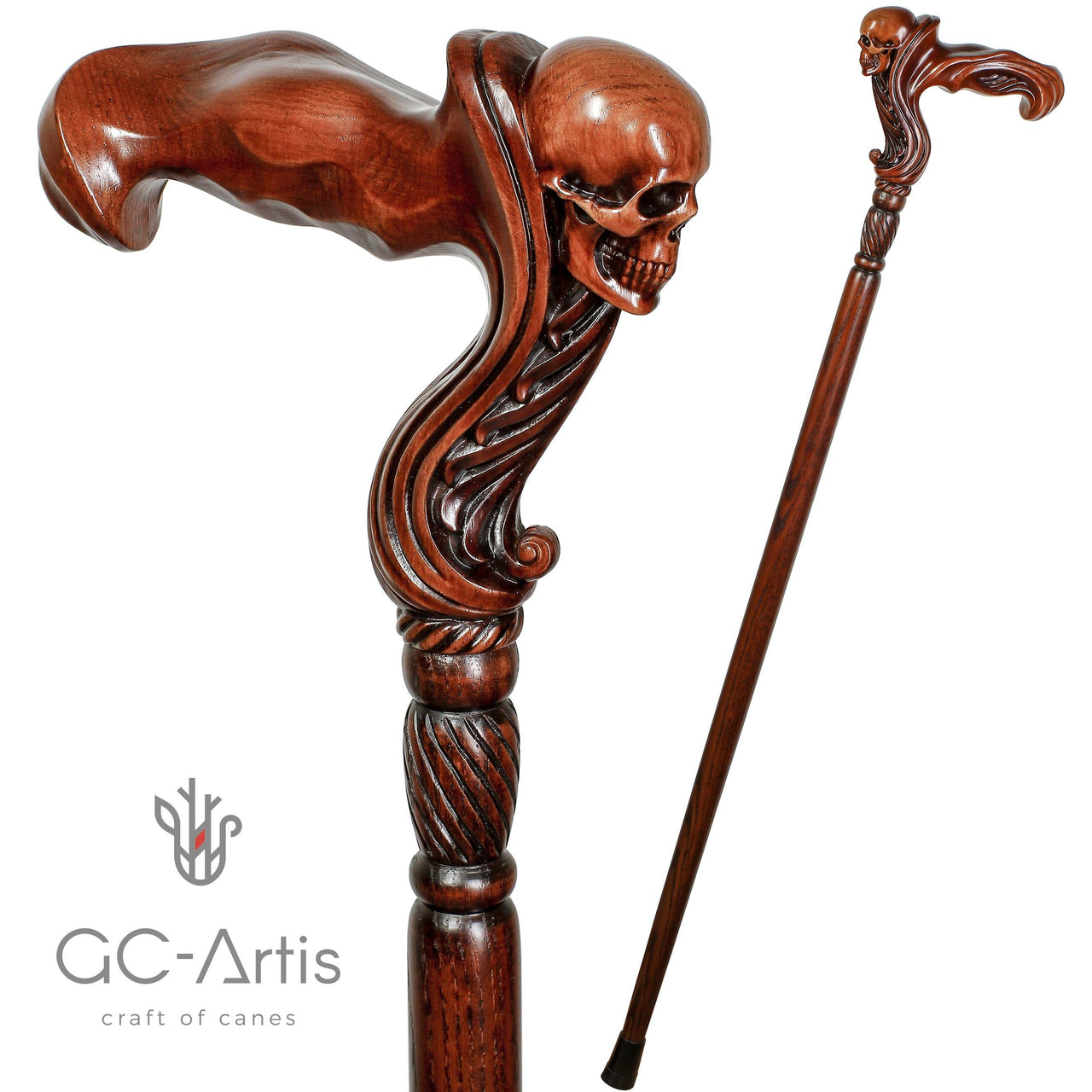 Skull Head Cane Wooden Walking Stick Anatomic Grip - GC-Artis Walking Sticks Canes