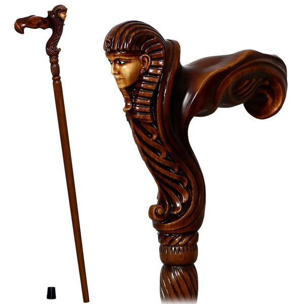 Ergonomical Handle! Wooden Walking Cane Stick Carved Egypt Pharaoh - GC-Artis Walking Sticks Canes