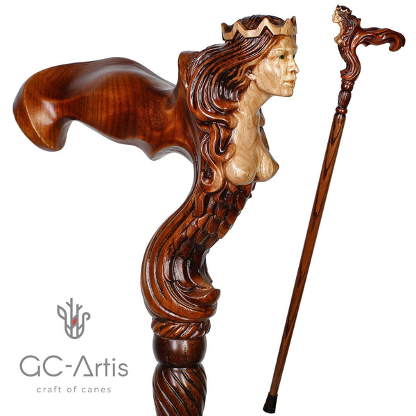 Ergonomic Palm Grip Handle Wooden Walking cane Fantasy Syren - GC-Artis Walking Sticks Canes