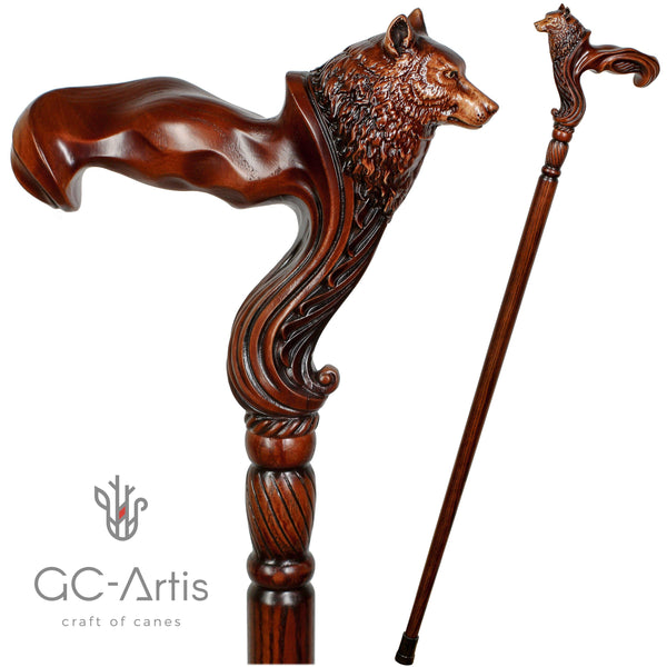 Wolf Cane wooden walking stick - GC-Artis Walking Sticks Canes