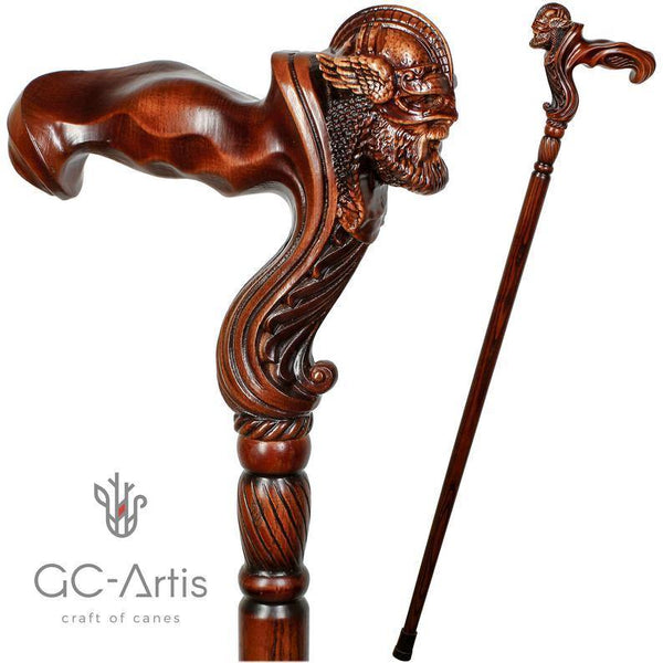 Viking Warrior - Wooden Walking Cane Stick Anatomic Grip - GC-Artis Walking Sticks Canes