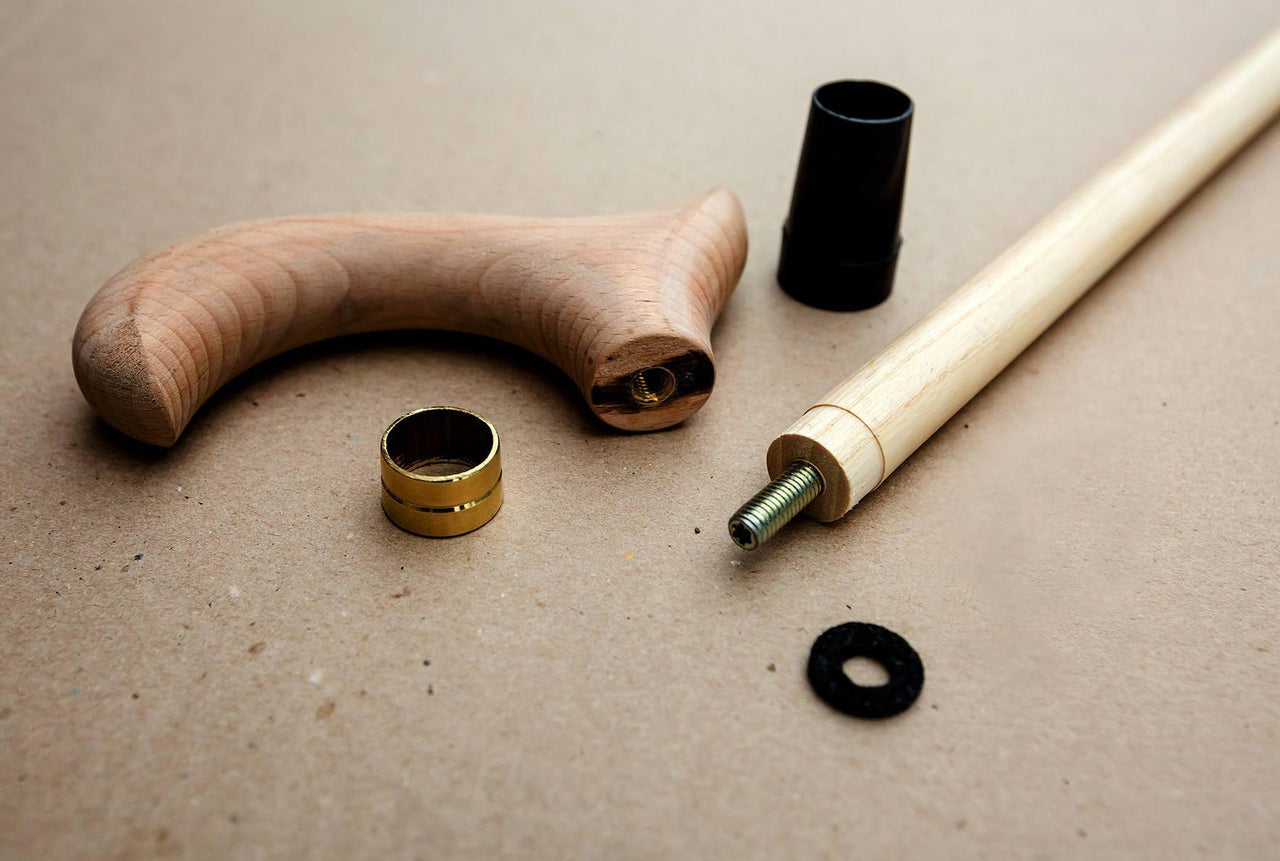 Unpainted Wooden Derby Set Assembled Kit Parts for a Custom Walking Stick Cane making - GC-Artis Walking Sticks Canes