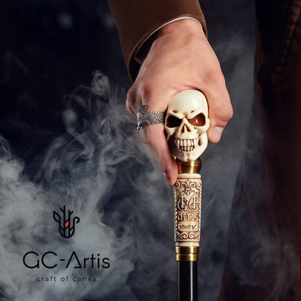 Skull Walking Stick Cane Staff Folding (3 sections) Goth Style - GC-Artis Walking Sticks Canes