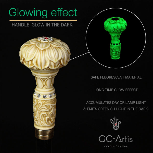 GLOWING LOTUS Flower! Walking Cane Stick Light Color - GC-Artis Walking Sticks Canes