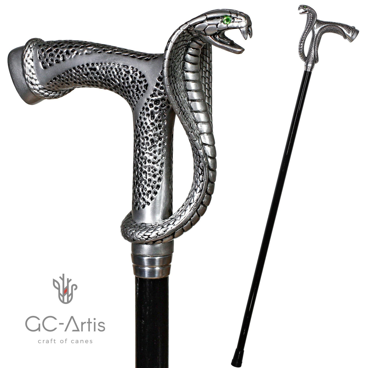 Snake Cobra Walking Stick cane silver color -unique designer handle green crystalls walking stick handmade black wooden shaft cane for man