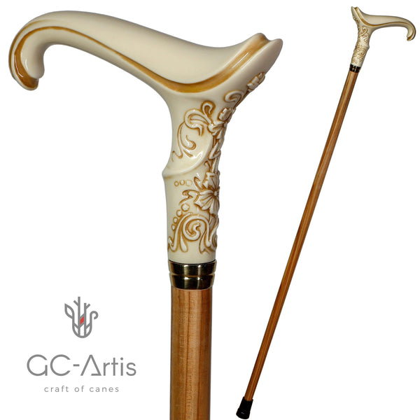 Elegant ladies Female Light ivory color walking stick cane - GC-Artis Walking Sticks Canes