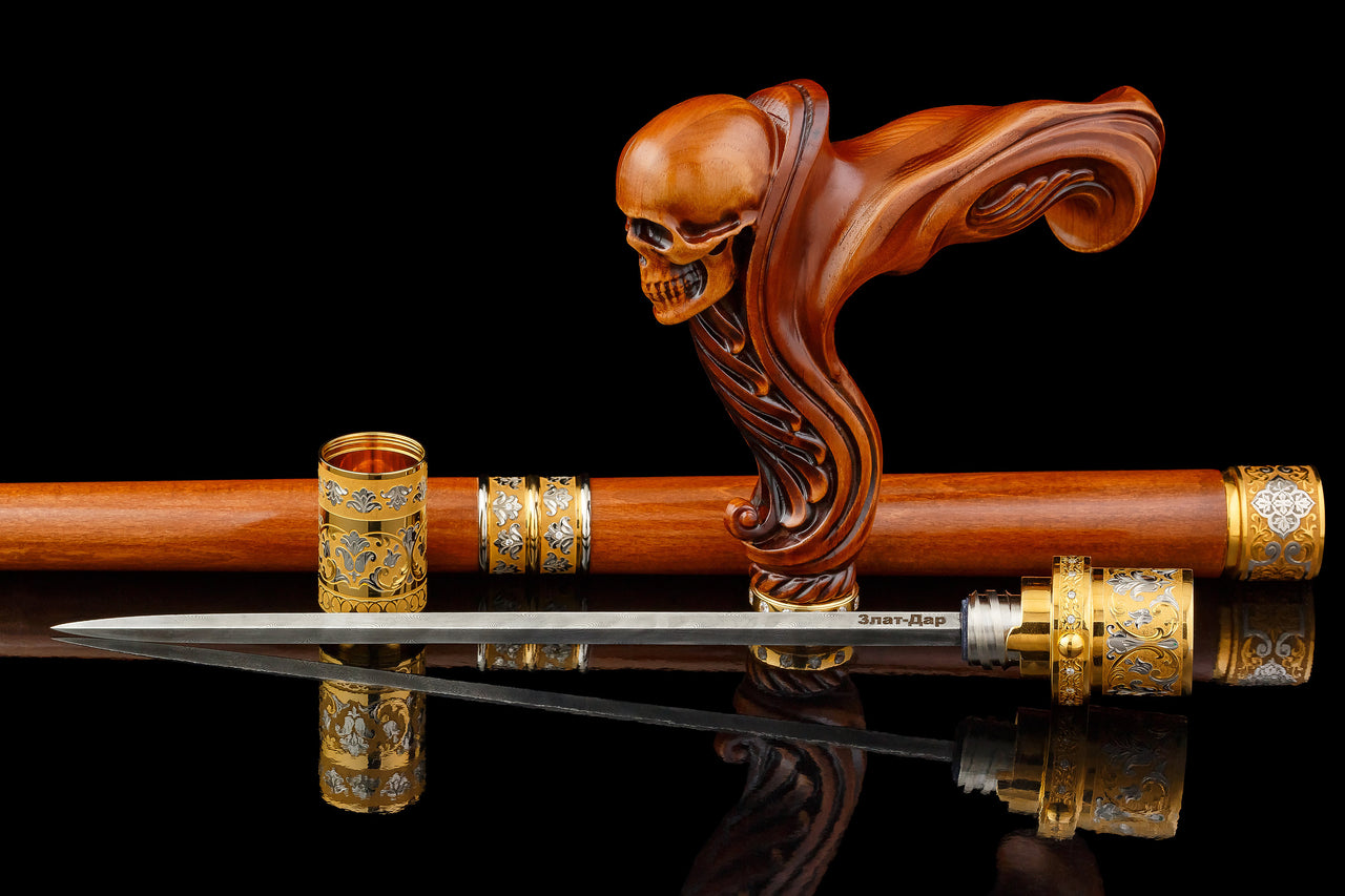 Wooden Skull Walking Stick Sword Cane with Gems, Silver, Gold - GC-Artis Walking Sticks Canes