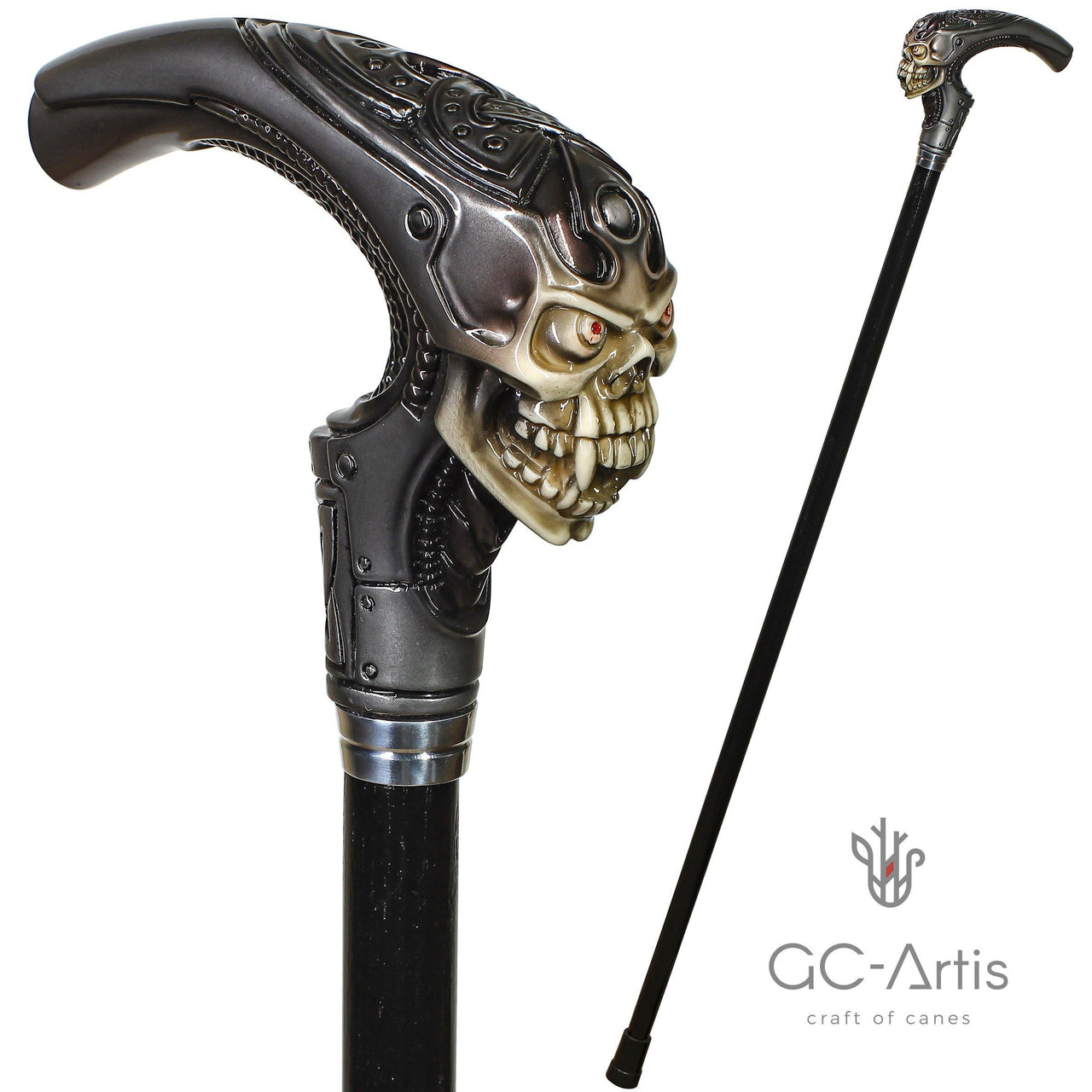 Alien Skull Cane Walking Stick Fantasy Horror Style Gray - GC-Artis Walking Sticks Canes
