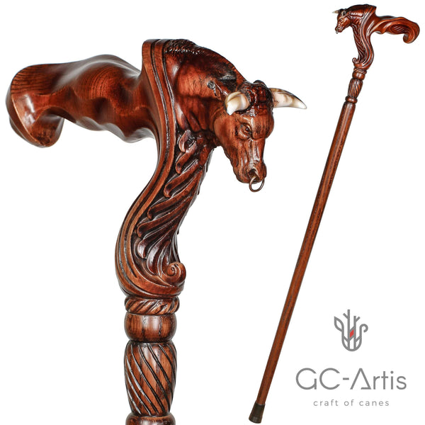 Wooden Ox Bull Cane Walking Stick Ergonomic Handle - GC-Artis Walking Sticks Canes