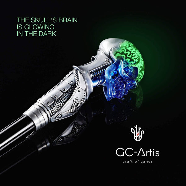 Crystal Human Skull Cane Walking Stick Lighting Brain - GC-Artis Walking Sticks Canes