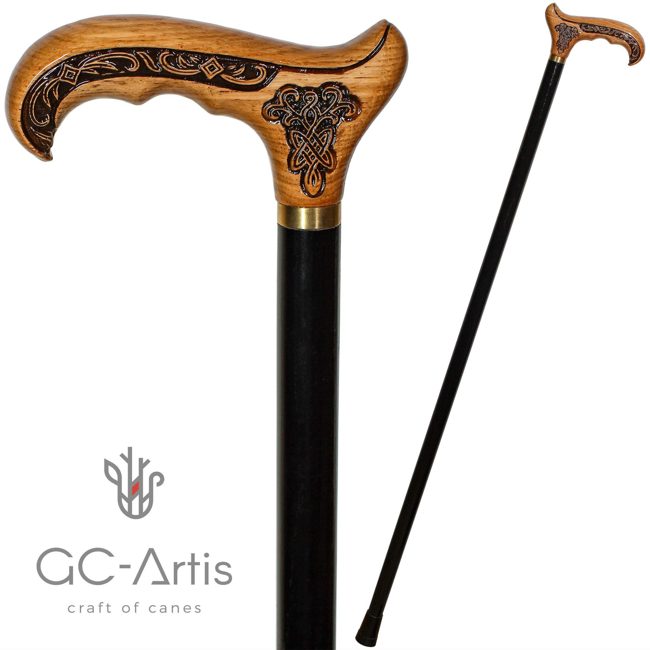 Wooden Cane Walking Stick with Celtic Ornement - GC-Artis Walking Sticks Canes