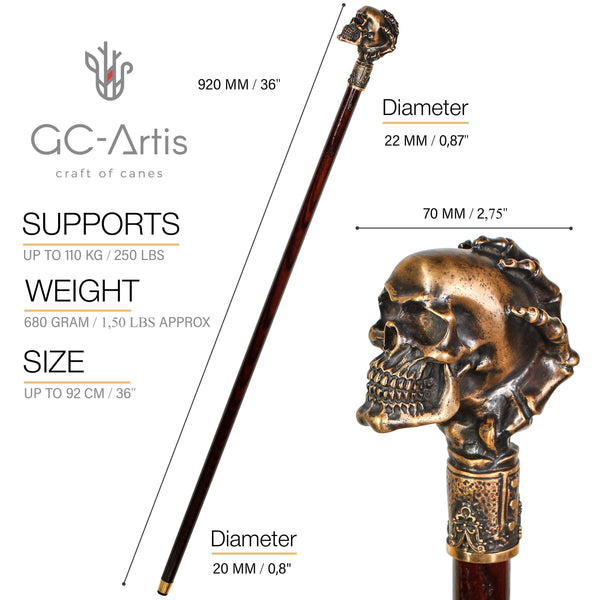 Skull Walking Stick Cane Wood & Bronze - GC-Artis Walking Sticks Canes