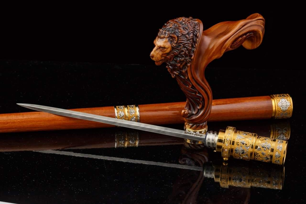 Lion Head Wooden Walking Stick Cane with Blade Sword - GC-Artis Walking Sticks Canes