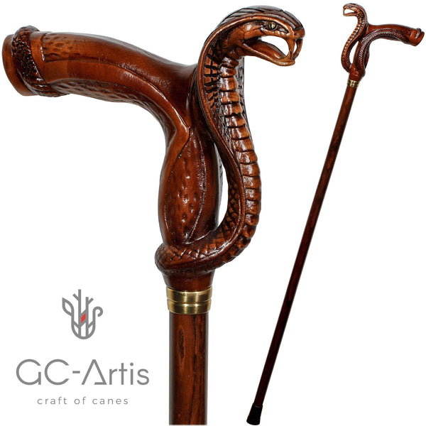Wooden Cane Walking Stick Cobra Snake - GC-Artis Walking Sticks Canes