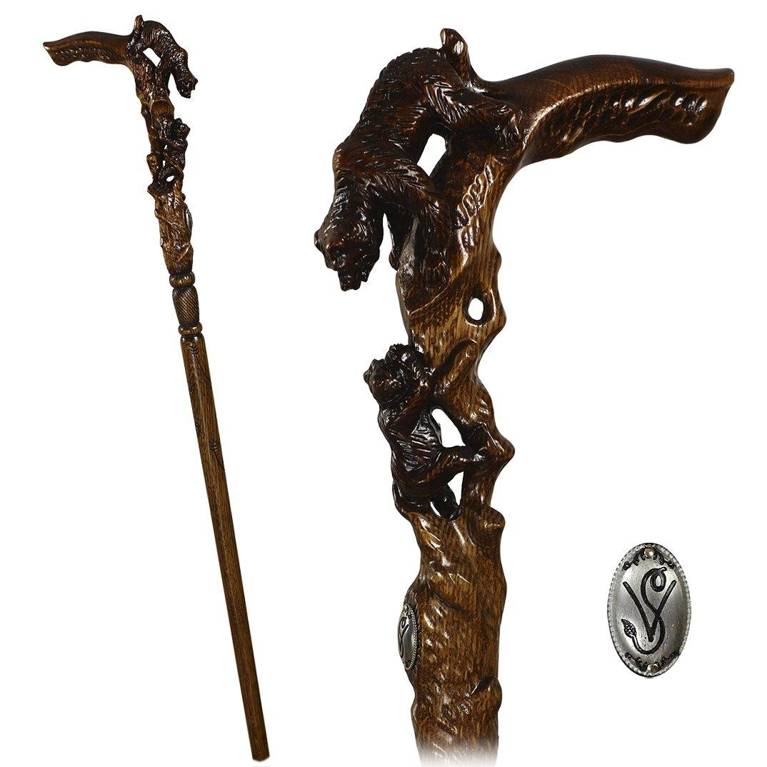 She Bear Hand carved Walking Stick Cane Dark Wood - GC-Artis Walking Sticks Canes