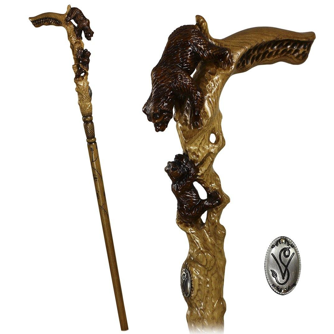 She Bear Mother with teddy bear Wooden Walking Stick Cane Light - GC-Artis Walking Sticks Canes