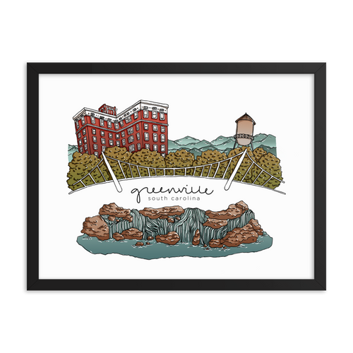 Greenville Landmarks | Framed Print
