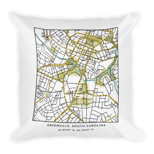 Greenville's (on the) Map | Premium Throw Pillow
