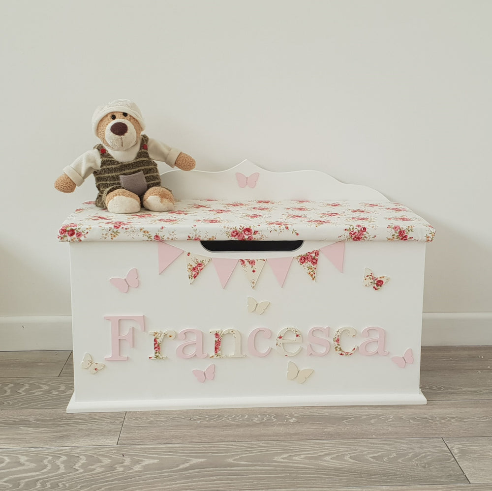 kids toy box with floral design