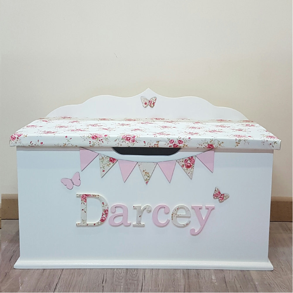 toy chest for kids with floral design