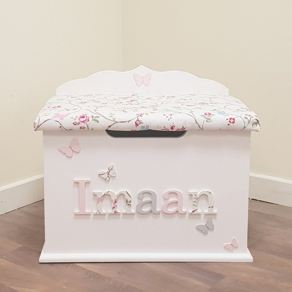 personalised toy box - bird trail design