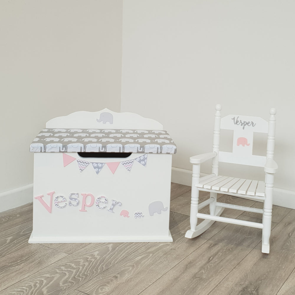 kids toy box with elephant design