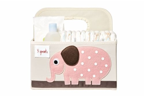 3 Sprouts Pink Elephant Nappy Caddy
