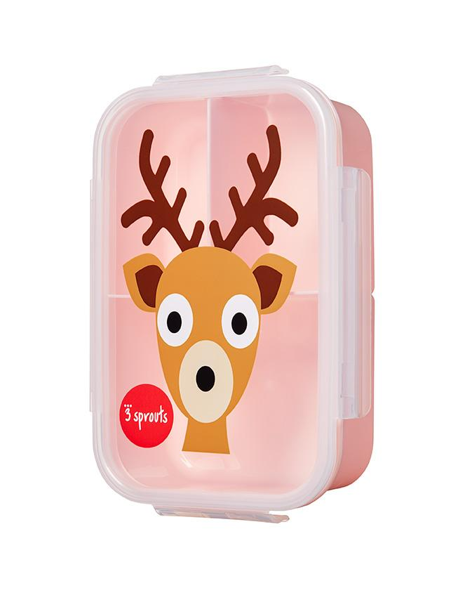 3 Sprouts Pink Deer Bento Box