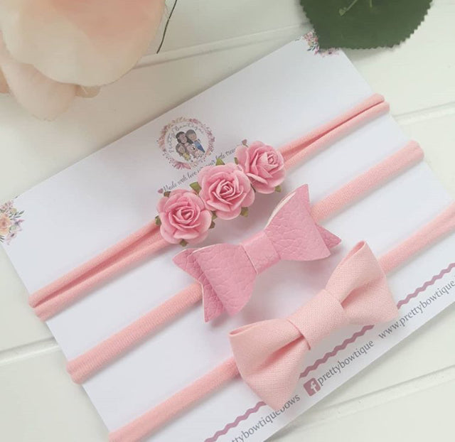 Pink Trio Headband Set
