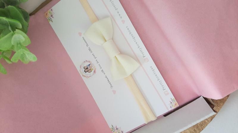 Cream Trim Bow Headband