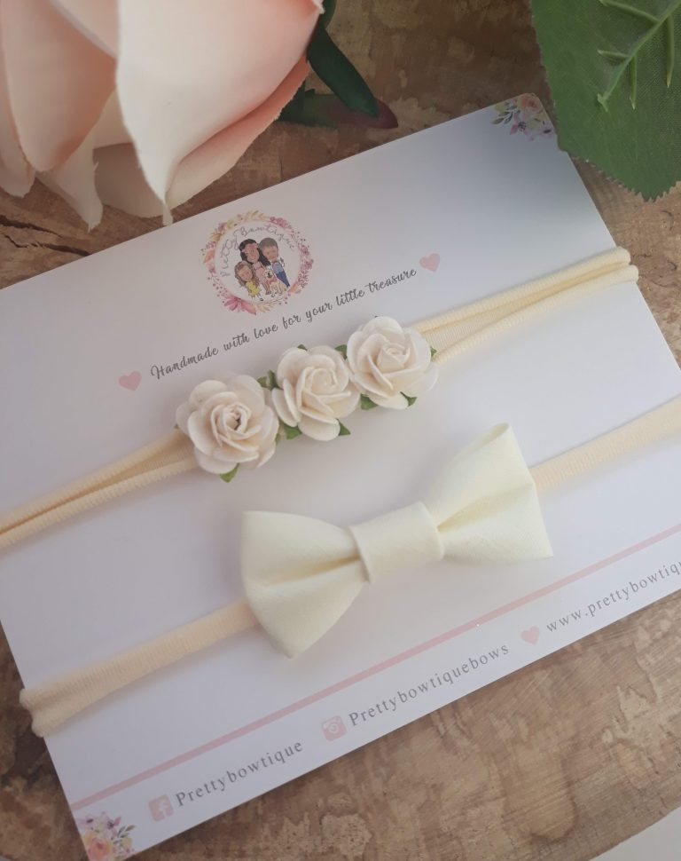 Dainty Cream Flower Headband and Bow Set