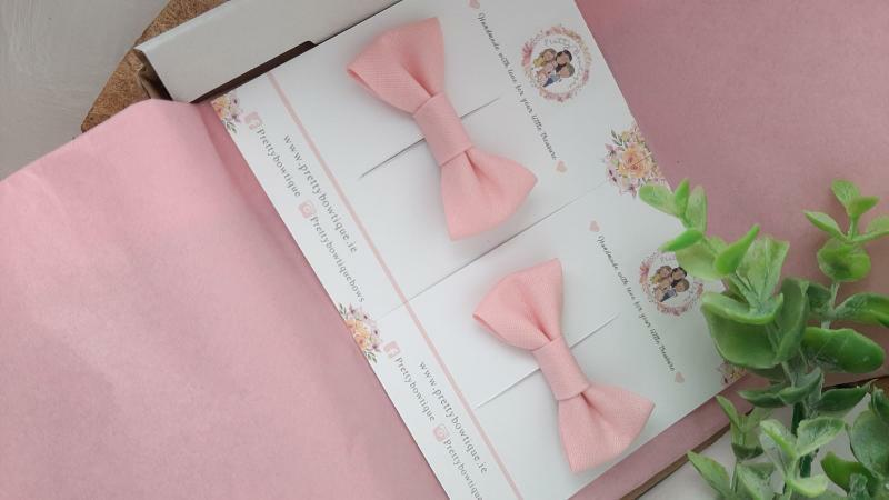 Pink Single Trim Bow Hair Clip