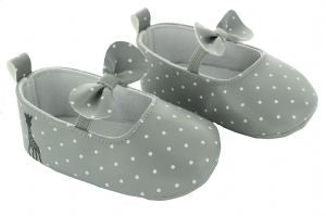 Baby Love SLG Shoes - Grey Polka Dot Bow Shoes